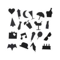 Party-Symbol-Set - für Lochblech Black Design Letters