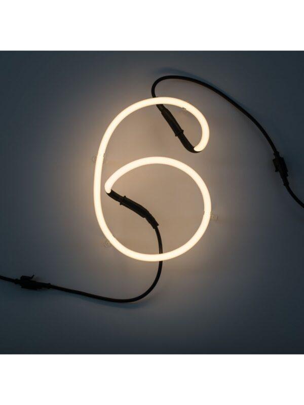 Neon Art Wall Lamp - 6 Nummer Weiß Seletti Selab