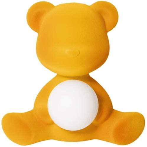 Drahtlose Tischlampe Teddy Girl Velvet Finish Dunkelgold Qeeboo Stefano Giovannoni 1