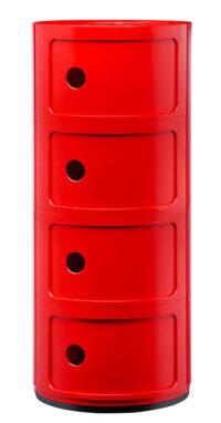Mobile contenitore Componibili / 4 cassetti Rosso Kartell Anna Castelli Ferrieri 1