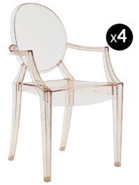 Louis Ghostスタッカブルアームチェア-4個セットオレンジKartell Philippe Starck透明1