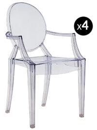 Louis Ghostスタッカブルアームチェア-4枚セット透明な青いKartell Philippe Starck 1