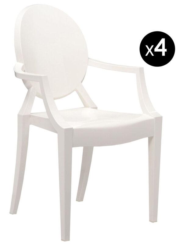 Fauteuil empilable Louis Ghost - Lot de 4 blanc mat Kartell Philippe Starck 1