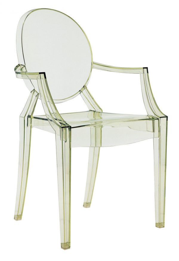 Louis Ghost stackable armchair Transparent green Kartell Philippe Starck 1