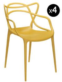 Poltrona empilhável de mestres - Lote de 4 Kartell Philippe Starck Mustard | Eugeni Quitllet 1