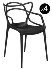 Stapelbarer Sessel des Meisters - Los mit 4 schwarzen Kartell Philippe Starck | Eugeni Quitllet 1