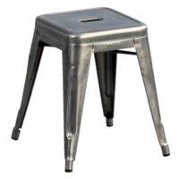 Taburete bajo H - H de acero en bruto 45 cm con barniz transparente Tolix Xavier Pauchard 1