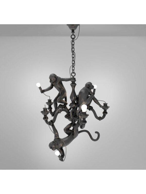 Candeeiro de suspensão lustre macaco preto Seletti Marcantonio Raimondi Malerba