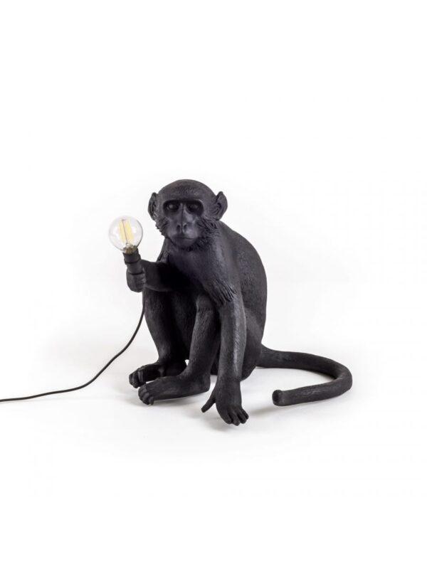 Monkey Sitting Outdoor Table Lamp - H 32 cm Black Seletti Marcantonio Raimondi Malerba