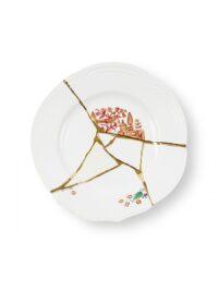 Kintsugi Dinner Plate Red Motifs White | Multicolor | Gold Seletti Marcantonio Raimondi Malerba