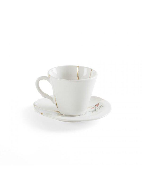 Kintsugi Coffee Cup Set Multicolored Flower White   Multicolored   Gold Seletti Marcantonio Raimondi Malerba