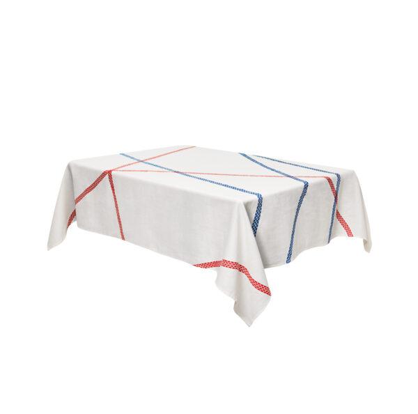 Tablecloth Lugo - 180 140 cm x Blue   Red internoitaliano Irene Bacchi   Leonardo Sonnoli
