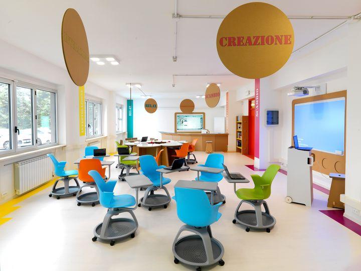 Il progetto della prima aula 3 0 realizzata con materiali for Arredi ecosostenibili