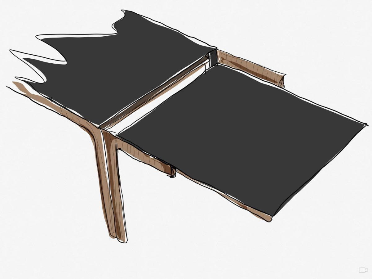 Amalong table, Giulio Iacchetti for Bross, extraction of extensions