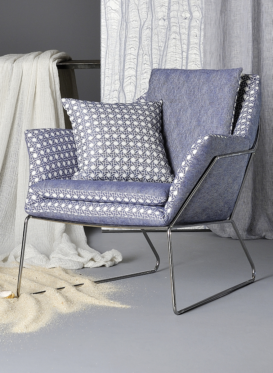 Agena armchair covered with Vienna and Tokyo tissues